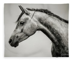 Black And White Horse Head Fleece Blanket