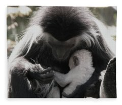 Black And White Image Of Colobus Monkeys Fleece Blanket