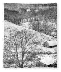 Black And White In Winter Fleece Blanket