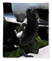 Black And White Magpie On The Porch Fleece Blanket