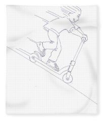 Black And White Micro Scooter Downhill Drawing Fleece Blanket