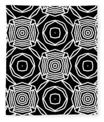 Black And White Modern Roses- Pattern Art By Linda Woods Fleece Blanket