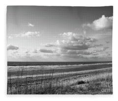 Black And White Ocean Scene Fleece Blanket