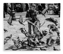 Black And White Of Boy Feeding Pigeons In Sarajevo, Bosnia And Herzegovina  Fleece Blanket