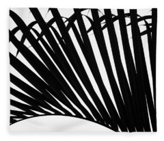 Black And White Palm Branch Fleece Blanket