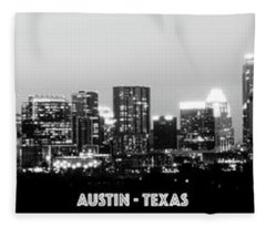 Black And White Panoramic View Of Downtown Austin Fleece Blanket