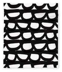 Black And White Pebbles- Art By Linda Woods Fleece Blanket