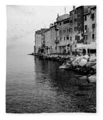 Black And White - Rovinj Venetian Buildings And Adriatic Sea, Istria, Croatia Fleece Blanket