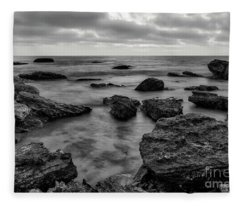 Black And White Sunset At Low Tide Fleece Blanket