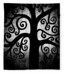 Black And White Tree Fleece Blanket