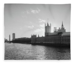 Black And White View Of Thames River And House Of Parlament From Fleece Blanket