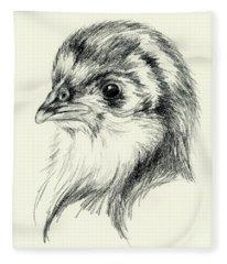 Black Australorp Chick In Charcoal Fleece Blanket