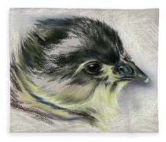 Black Australorp Chick Portrait Fleece Blanket
