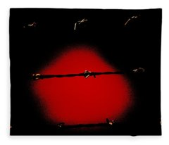 Black Barbed Wire Over Black And Blood Red Background Eerie Imprisonment Scene Fleece Blanket