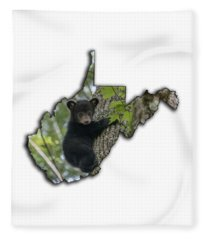 Black Bear Cub Climbing Down A Tree Fleece Blanket