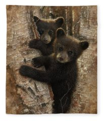 Black Bear Cubs - Curious Cubs Fleece Blanket