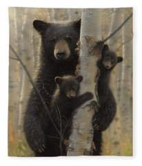 Black Bear Mother And Cubs - Mama Bear Fleece Blanket