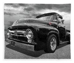 Black Beauty - 1956 Ford F100 Fleece Blanket