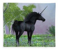 Black Beauty Unicorn Fleece Blanket