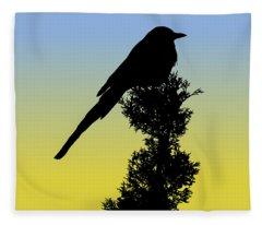 Black-billed Magpie Silhouette At Sunrise Fleece Blanket