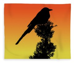 Black-billed Magpie Silhouette At Sunset Fleece Blanket