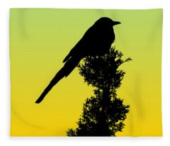Black-billed Magpie Silhouette - Special Request Background Fleece Blanket
