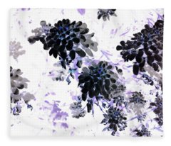 Black Blooms I Fleece Blanket