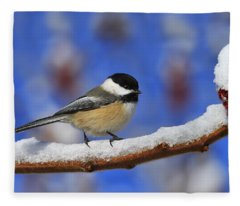 Black-capped Chickadee In Sumac Fleece Blanket