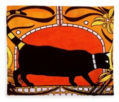 Black Cat With Floral Motif Of Art Nouveau By Dora Hathazi Mendes Fleece Blanket