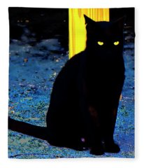 Black Cat Yellow Eyes Fleece Blanket