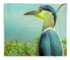 Black-crowned Night Heron Digital Art Fleece Blanket