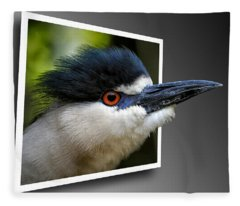 Black Crowned Night Heron Out Of Bounds Fleece Blanket