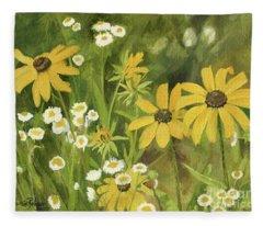 Black-eyed Susans In A Field Fleece Blanket
