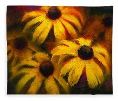 Black Eyed Susans - Vibrant Yellow Daisy Flowers Warm Colors Still Life Garden Decor Fleece Blanket