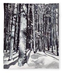 Black Forest Watercolor Fleece Blanket