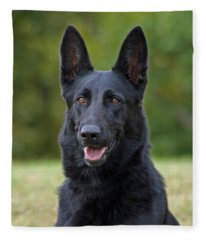 Black German Shepherd Dog Fleece Blanket