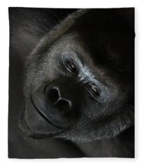 Black Gorilla Smile Fleece Blanket