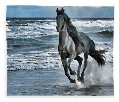 Black Horse Running Through Water Fleece Blanket
