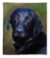 Black Lab Portrait Fleece Blanket