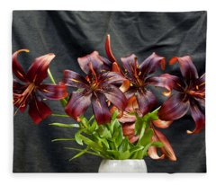 Black Lilies Fleece Blanket