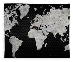 Black Metal Industrial World Map Fleece Blanket