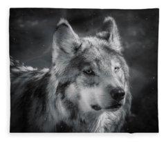 Black N White Wolf Fleece Blanket