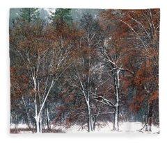 Black Oaks In Snowstorm Yosemite National Park Fleece Blanket