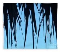 Black Palms On Blue Sky Fleece Blanket