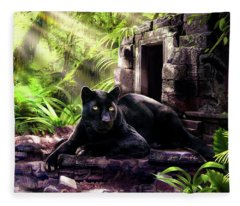 Black Panther Custodian Of Ancient Temple Ruins  Fleece Blanket