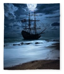 Black Pearl Pirate Ship Landing Under Full Moon Fleece Blanket