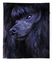 Black Poodle - Square Fleece Blanket