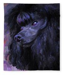 Black Poodle Fleece Blanket