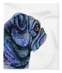 Black Pug Fleece Blanket