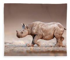 Black Rhinoceros Baby Running Fleece Blanket